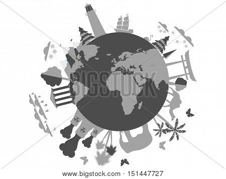 Life on the planet. Environment and wildlife industry and recreation. Weather. The environment. Animal shelter. Planet earth sights. Vector illustration.