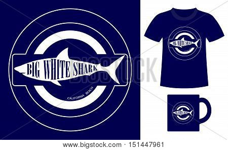 Pattern design concept for printing on T-shirts and souvenirs: title Big white shark california beach and silhouette shark. Vintage style hand drawn. Vector illustration