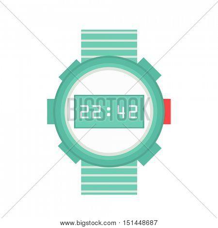 Watch Stylish accessory for men. Wristwatch. time symbol on white background. Flat style illustration.