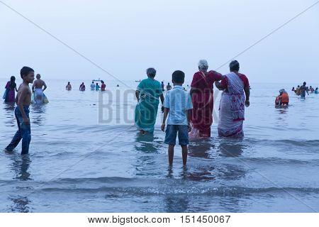 Rameswaram, Tamil Nadu, India - May 25, 2014. Full report about Rameswaram pilgrimage, religion. Religious city rituals. Bath in sea before going temple
