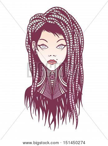 Colorful stylish young girl with dreadlocks, tattoo and piercing. Illustration of subcultural girl on a white background. Modern woman portrait for your design.