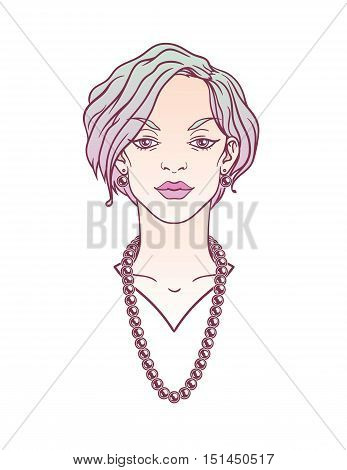 Stylish beautiful lady with gradient hair and bijou. Modern girl portrait on a white background for your design.