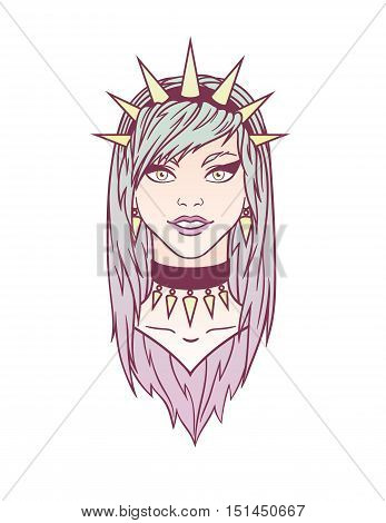 Colorful stylish young girl with spiked bezel. Illustration of subcultural girl on a white background. Modern woman portrait for your design.