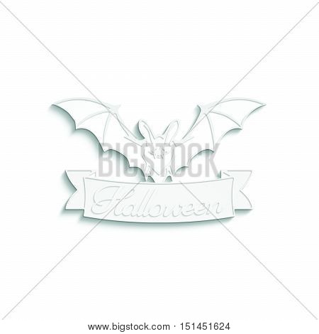 Bat. 3D illustration of bat and a ribbon with Halloween text. Emblem cut out of a white paper texture. Good for Coloring. Design template. Halloween banner with place for your text or pictures.
