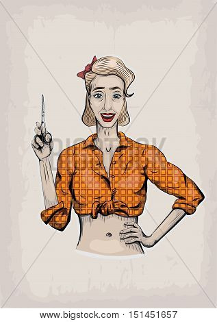 Female woman girl coiffeuse hairdresser barber beautician has with scissors shear beautiful worker people portrait. Vector vertical closeup front view illustration sign signboard shop barber's