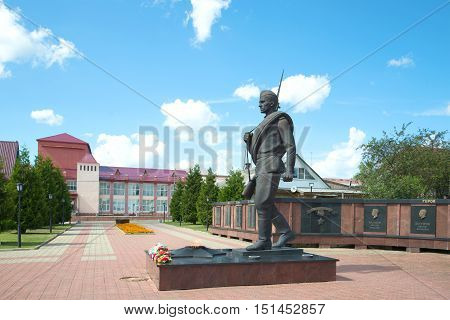MYSHKIN, RUSSIA - JULY 13, 2016: The monument to the soldier-liberator. Memorial in honor of the 60th anniversary of the Victory in the Great Patriotic War