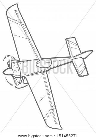 line sport plane with propeller. small airplane