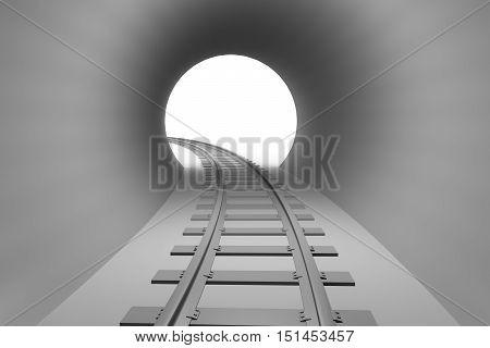 Railroad Leaving The Railway Tunnel