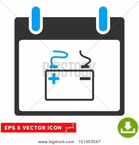 Accumulator Calendar Day icon. Vector EPS illustration style is flat iconic bicolor symbol, blue and gray colors.