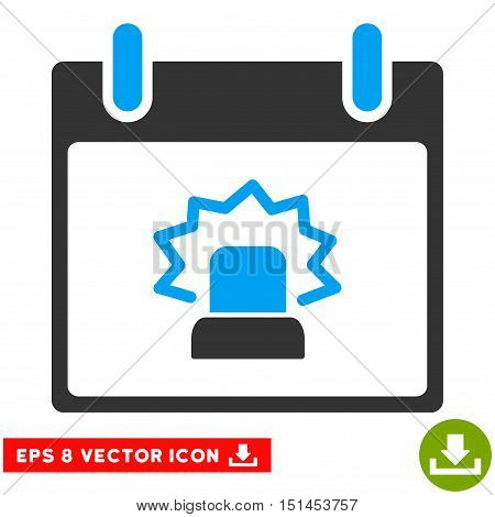 Alert Calendar Day icon. Vector EPS illustration style is flat iconic bicolor symbol, blue and gray colors.
