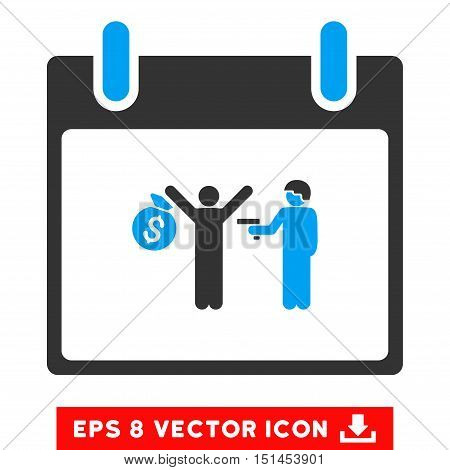 Arrest Calendar Day icon. Vector EPS illustration style is flat iconic bicolor symbol, blue and gray colors.