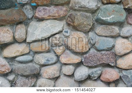 different stones in the masonry wall at background