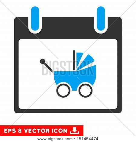 Baby Carriage Calendar Day icon. Vector EPS illustration style is flat iconic bicolor symbol, blue and gray colors.