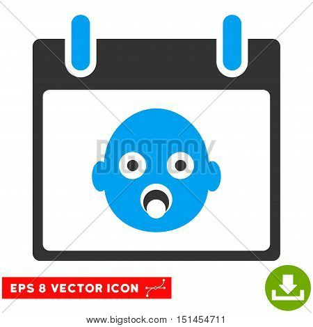 Baby Head Calendar Day icon. Vector EPS illustration style is flat iconic bicolor symbol, blue and gray colors.