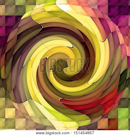 Abstract coloring background of the horizon gradient with visual mosaic, cubism,spherize and twirl effects