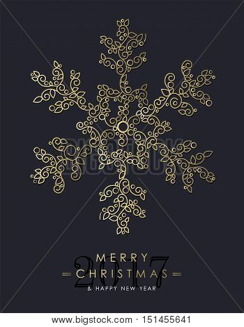 Gold Christmas And New Year Ornamental Snowflake