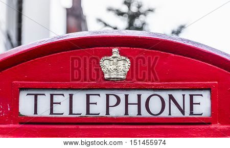 Red telephone box in London. England, UK. Close view
