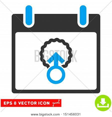 Cell Penetration Calendar Day icon. Vector EPS illustration style is flat iconic bicolor symbol, blue and gray colors.