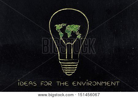 Lightbulb With Map Of The World Made Of Leaves, Green Economy Ideas