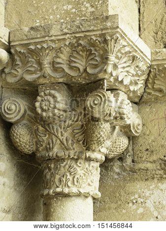 Detail of the Church of Santa Maria de Porqueres XII century Romanesque Spain, Catalunya, Girona, Pla de l'Estany, Porqueres.