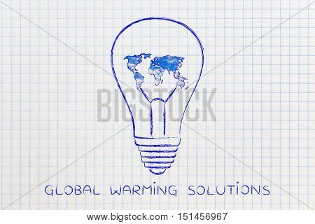 Lightbulb With Map Of The World Made Serene Sky, Green Economy Ideas
