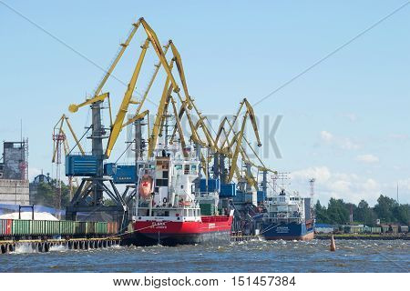 VYBORG, RUSSIA - AUGUST 08, 2016: Sunny august day in the cargo port of Vyborg. Tourist landmark