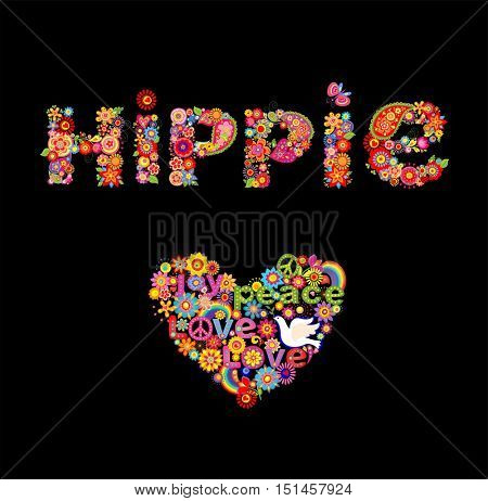 Print with hippie flowers lettering and heart shape