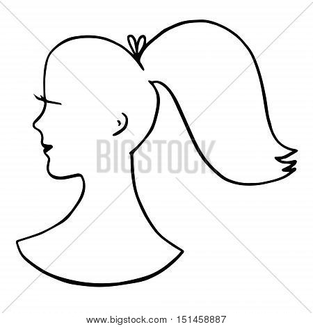 Girl's silhouette with ponytail and lashes isolated on white background. Hand drawn graphics illustration for logo, designs, prints, advertising, barbershop.