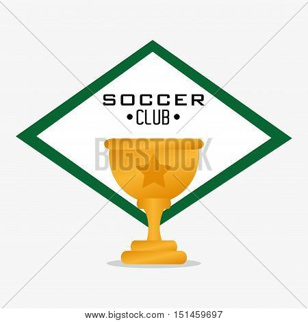 Trophy cup icon. Soccer sport competition game and hobby theme. Colorful design. Vector illustration