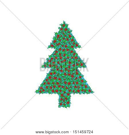 Holly tree clip-art. hand drawn background, design element for Christmas and New Year greeting card or banner. Holly with berry, isolated on white