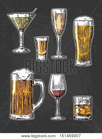 Set glass for beer, whiskey, wine, tequila, cognac, champagne, brandy, cocktails, liquor. Vector engraved illustration isolated on dark vintage background.