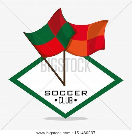 Flags icon. Soccer sport competition game and hobby theme. Colorful design. Vector illustration