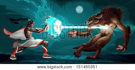 Fighting scene between elf and werewolf. Fantasy vector illustration
