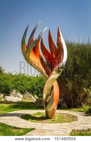 JERUSALEM, ISRAEL - OCTOBER 5: The Etzioni Flame sculpture by Gidon Graetz in memory of the etzioni brigade fighters, Bloomfield Garden in Jerusalem, Israel on October 5, 2016