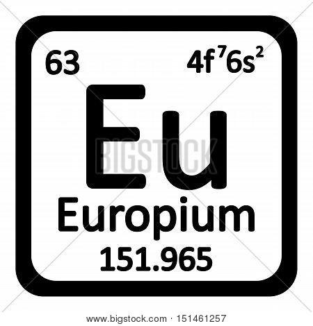 Periodic table element europium icon on white background. Vector illustration.
