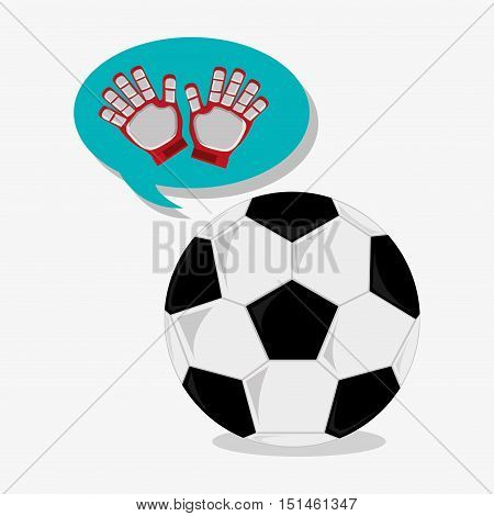 Ball and gloves icon. Soccer sport competition game and hobby theme. Colorful design. Vector illustration