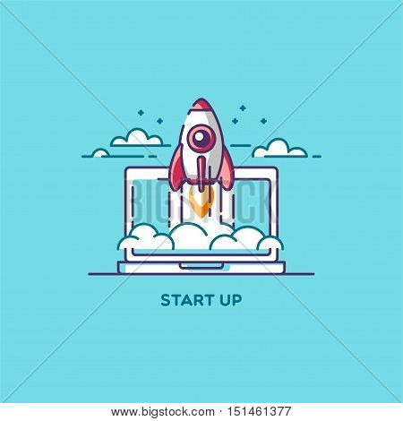 Start Up. Line flat design vector illustration concept of new business project, development and launch a innovation product on a market.