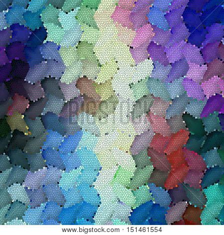 Abstract coloring background of the horizon gradient with visual mosaic, cubism, lighting and twirl effects