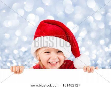 cute girl on whiteboard - for christmas billboard