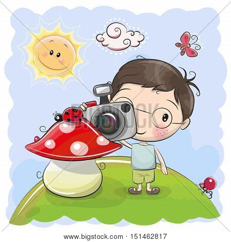 Cute cartoon Boy with a camera on the meadow
