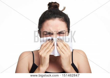 Woman Cover Her Face With Tissue