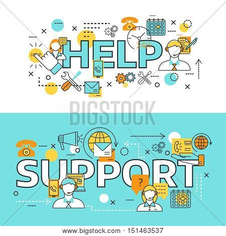 Two horizontal contact us line banner set with big titles help and support vector illustration