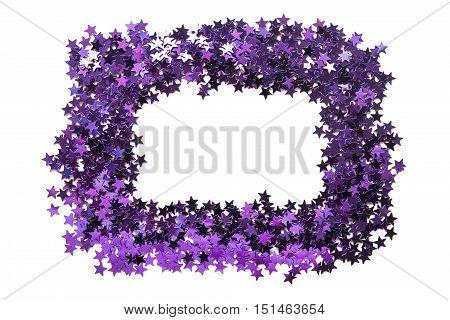 Blank frame of purple metallic sparkles on white background