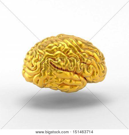 Golden brain on white background. 3D illustration