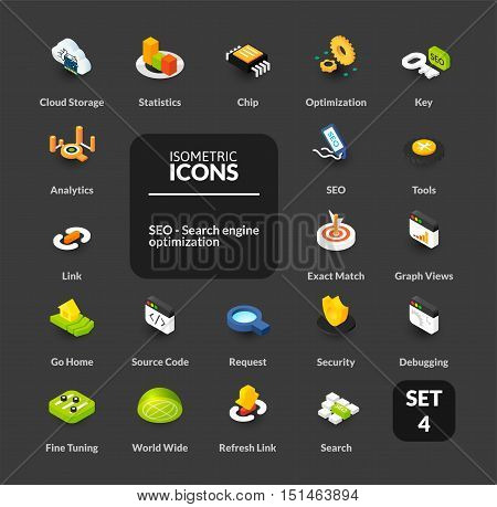 Color icons set in flat isometric illustration style, vector symbols - Search engine optimization collection