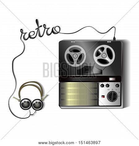 Reel tape recorder. Retro audio device. Stereo sound system. Retro headphones.