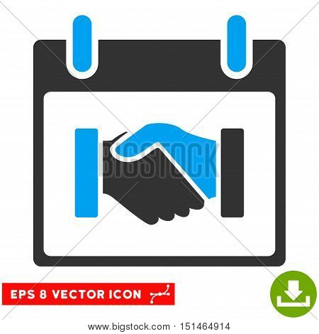 Handshake Calendar Day icon. Vector EPS illustration style is flat iconic bicolor symbol, blue and gray colors.