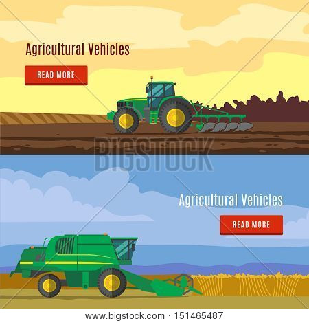 Agricultural vehicles flat banners with fields and farm equipment for plowing and harvesting isolated vector illustration
