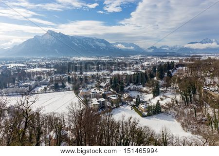 View from Hohensalzburg Castle towards the Austrian side of the Untersberg in the winter, Salzburg, Austria.