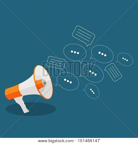 Social Media Flat Concept with Megaphone and Speech Bubles Messages Vector Illustration EPS10